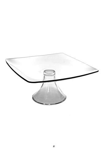10 Medium Clear Square Modern Glass Pedestal Cake Dessert Pastry Plate Stand