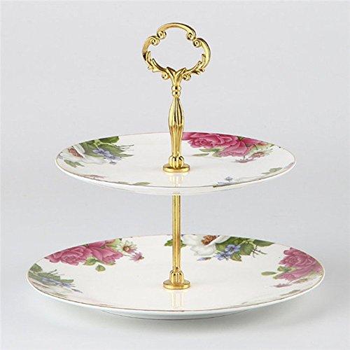 NDHT 2 Tier Porcelain Bone China Square Cake Plate StandWhite GoldenHeight103Edge Length8&10White Pink