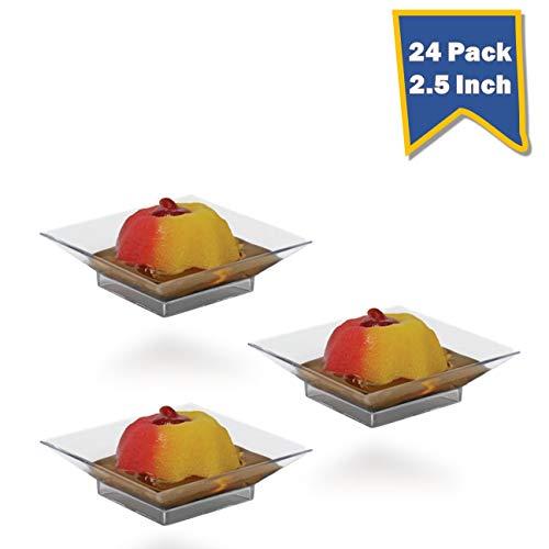 Posh Setting Mini Collection Mini Square Cake Plate Heavyweight Clear Plastic Elegant Disposable 25 Square Plate 24 CT