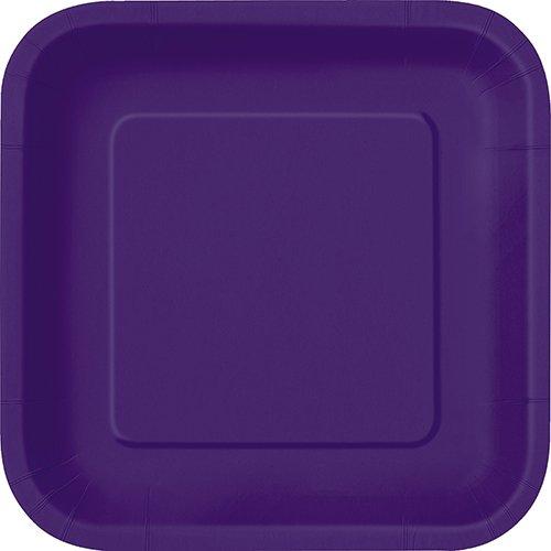 Unique Industries Square Cake Paper Plates 16 Pieces - Dark Purple