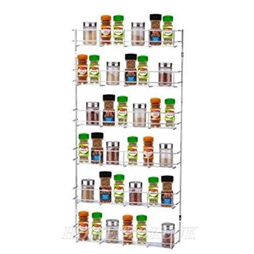 LEONYU 6 Tiers Cabinet Door Wall Mounted Spice Rack Kitchen Cupboard Storage Organizer