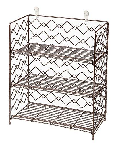 Wide Wall Mounted Spice Rack - Wire Kitchen Counter Storage Shelf Organizer Espresso 3 Tier