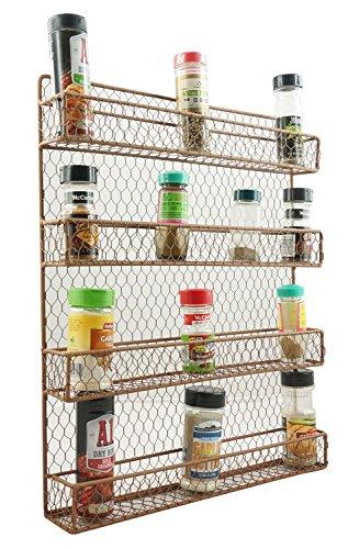 Wall Mount 4 Tier Metal Spice Rack Kitchen Metal Wire Spice Organizer Pantry Cabinet Chicken Wire Hanging Spice Storage Organizer Raw Rustic Brown