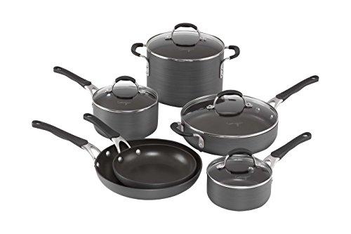 Calphalon 10 Piece Hard-Anodized Aluminum Nonstick Cookware Set Medium Black