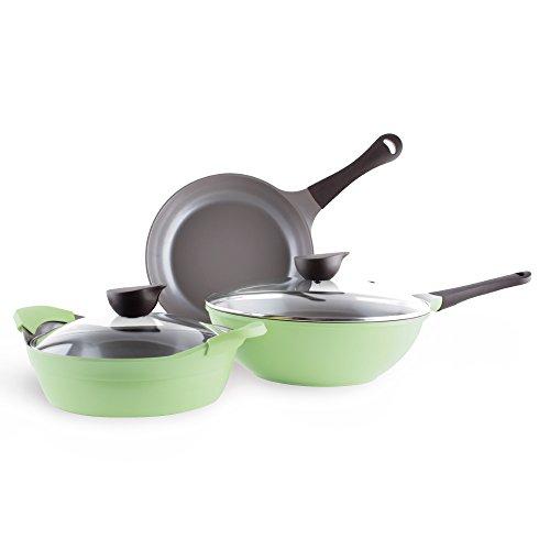 Neoflam Eela 5 Piece Ceramic Non-Stick Cookware Set Apple Green