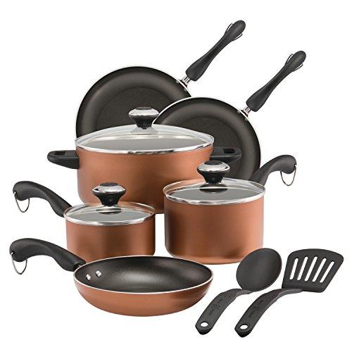 Paula Deen Dishwasher Safe Nonstick Cookware Set 11-Piece Copper