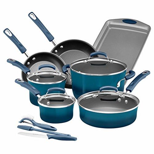 Rachael Ray 14 Piece Hard Enamel Nonstick Cookware Set Marine Blue