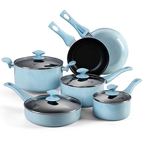 Pots and Pans Set COOKSMARK Pearl Hard Porcelain Enamel Nonstick Cookware Set 10-Piece Dishwasher Safe Blue Speckle