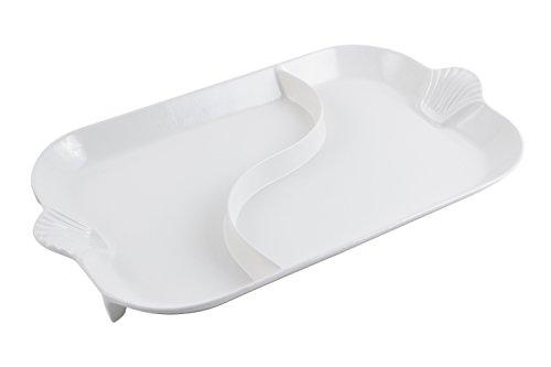 Bon Chef 2096DWHITE Aluminum Shell Divided Platter White