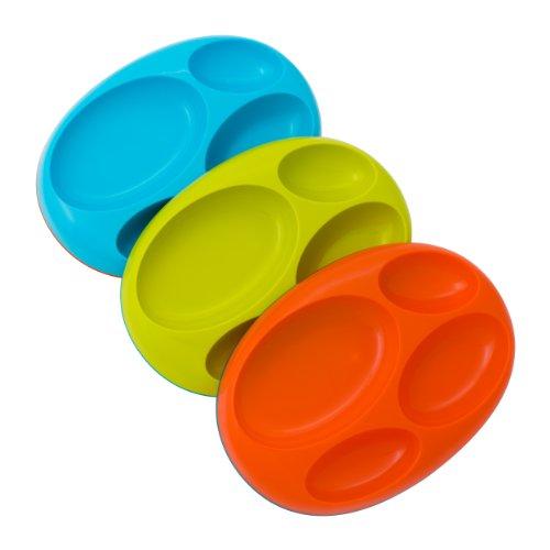 Boon Platter Edgeless Nonskid Divided Plate BlueOrangeGreen includes 3 pieces