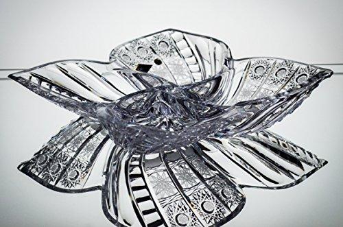 Czech Bohemian Crystal Glass Dia-14 Divided Platter-Bowl-Plate Hand Cut Decorative Wedding Gift Vintage European Design Elegant Centerpiece Dish Nuts Fruits Desserts Classic Crystal Glass