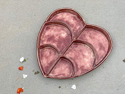 Red Heart Divided Platter Handmade Ceramic Serving Dish
