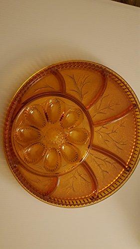 Vintage amber 12 divided platter