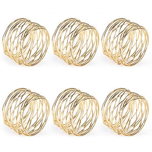 Accmor Metal Mesh Napkin Rings Gold Napkin Rings for Dinner Party Wedding Birthday Family Gatherings6 Pack