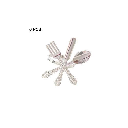 Creative Napkin Fork Knife Spoon Silver Napkin Ring 6Pcs Silver Gold Tableware Metal Napkin Ring Wedding PartySilver