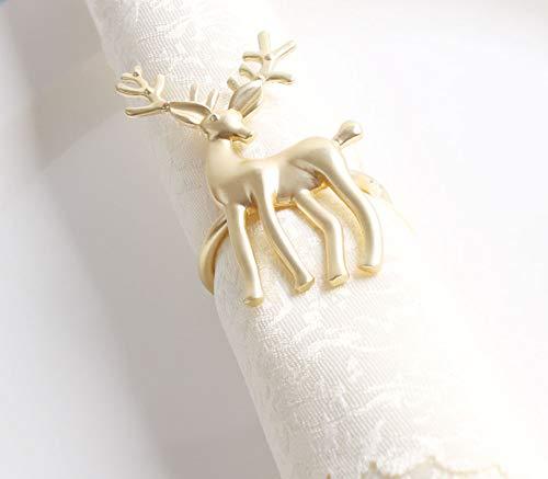 Fennco Styles Decorative Reindeer Snowflake Christmas Tree Holiday Rhinestone Metal Napkin Rings - Set of 4 Gold Reindeer