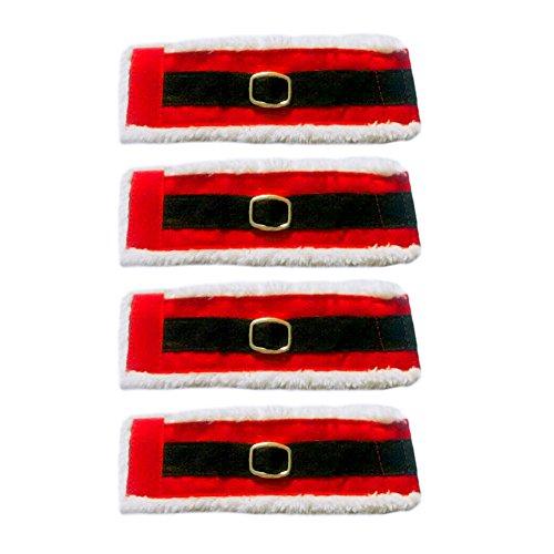 QiaonaiTM 4 Pcs Christmas Santa Cloth Table Napkin Ring Holder Band Cover Accessories