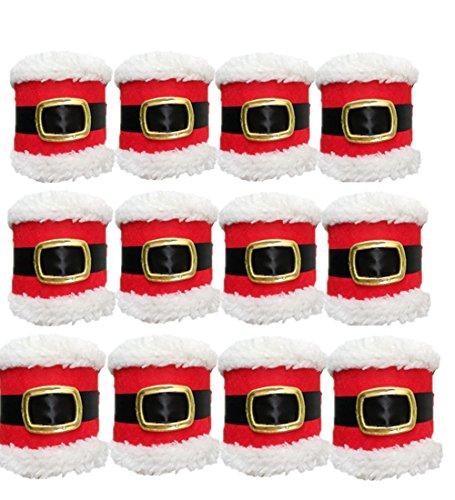 Sotijobs 4pcs Christmas Napkin Rings Serviette Holder Party Banquet Dinner Table Decor Red Napkin Rings 12pcs