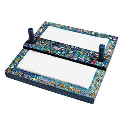 Oriental Design Handpainted Wooden Napkin Holder