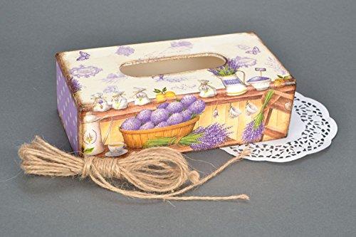 Painted Wooden Napkin Holder Lavender