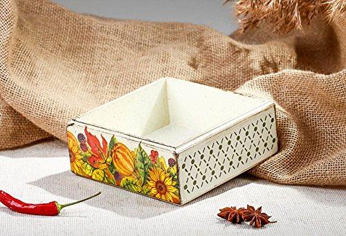 Wooden Handmade Napkin Holder in Decoupage Style Kitchen Accessories