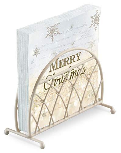 Blue Gold Merry Christmas Script Snowflake 20 X 3 Ply Paper Napkins Lattice Cream Upright Napkin Holder Set