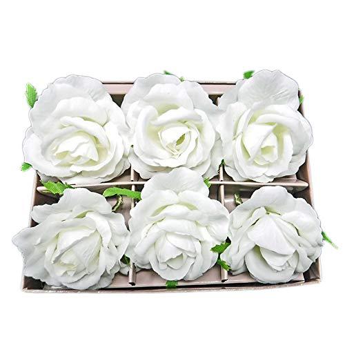Flora Bunda White French Rose Napkin Rings - Realistic Flower Napkin Holders - Set of 6