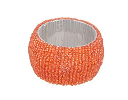 ShalinIndia Handmade Beaded Napkin Rings Set Glass Beaded Napkin Holders Set of 6 Orange