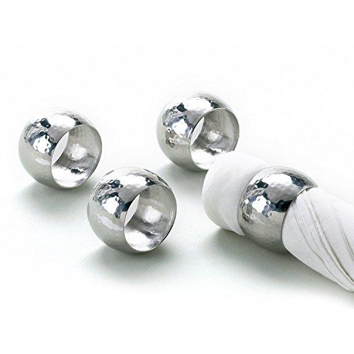 Elegance Silver Hammered Napkin Ring Set of 8