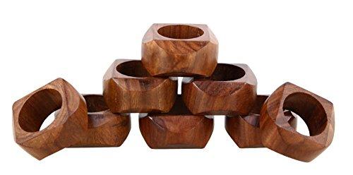 Shalinindia Handmade Artisan Crafted in India Wood Napkin Ring Set of 8