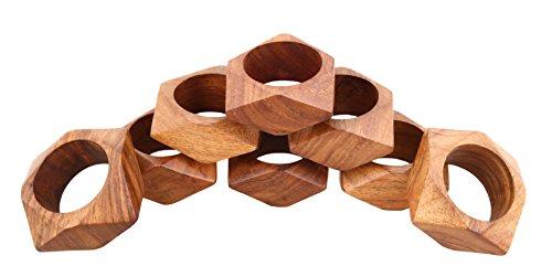 Shalinindia Handmade Party Decor Wooden Napkin Rings Set of 8 for Table Dinner Decoration