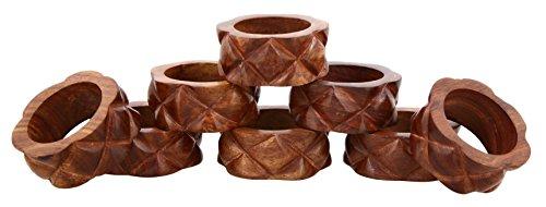 Shalinindia Handmade Wood Napkin Ring - Set of 8