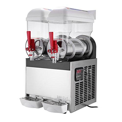 OrangeA Slush Slushy Making Machine 15L X 2 Tanks Frozen Drink Slush Machine Commercial Smoothie Maker with Spigot 2 Tank