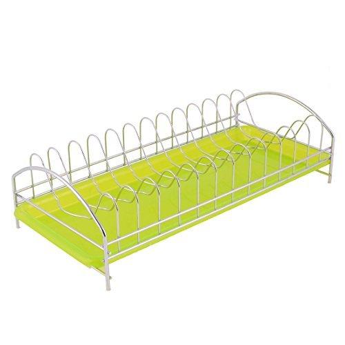 DealMux Household Kitchenware Tableware Fruit Vegetable Dish Plate Drainer Drying Rack Green