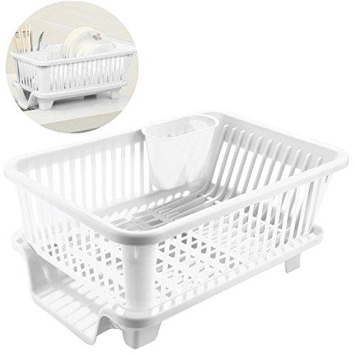 Kitchen Plastic Dish Utensil Cutlery Plate Drainer Drying Sink Basket Holder Organizer Tray White