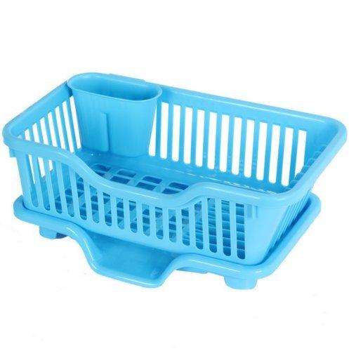 MIJORA-Kitchen Sink Dish Plate Drainer Drying Rack Wash Organizer Tray Holder Basket EBcolorblue
