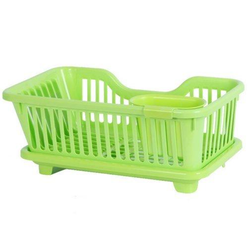 MIJORA-Kitchen Sink Dish Plate Drainer Drying Rack Wash Organizer Tray Holder Basket EBcolorgreen