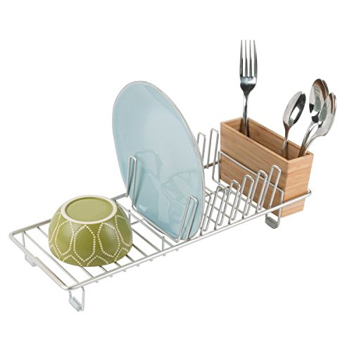mDesign Compact Kitchen Dish Drainer Rack for Drying Glasses Silverware Bowls Plates - SatinNatural