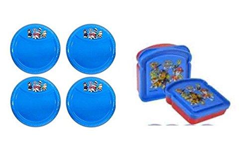 4 Pack Paw Patrol Plastic Reusable Kids 85 Diamond Rim plate Blue Plus 1 Free Paw Patrol Bread Sandwich Container