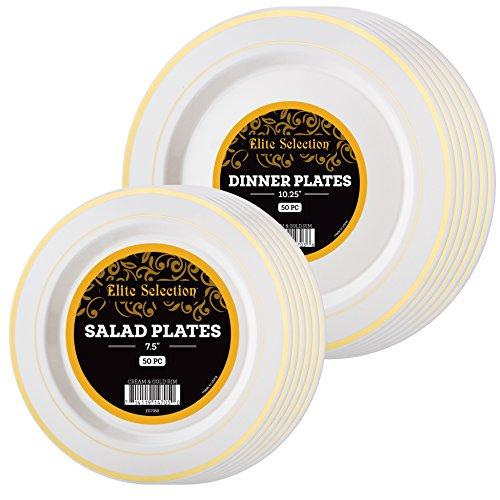 Elite Selection Combo Set Of 100 Plastic Plates Gold Rim Includes 50 Dinner Plates 1025 And 50 Salad  Dessert Plates 75