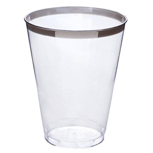 Efavormart 60 Pcs - Silver Rimmed 7oz Disposable Plastic Cup