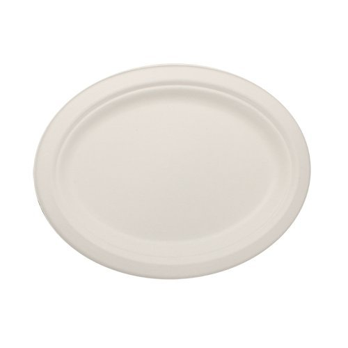 Durable Eco-Friendly 10 x 8 Bagasse PlatesOval - Pack of 100 White Plates Microwave Safe Compostable Made from Sugercane Fibers 100 Count