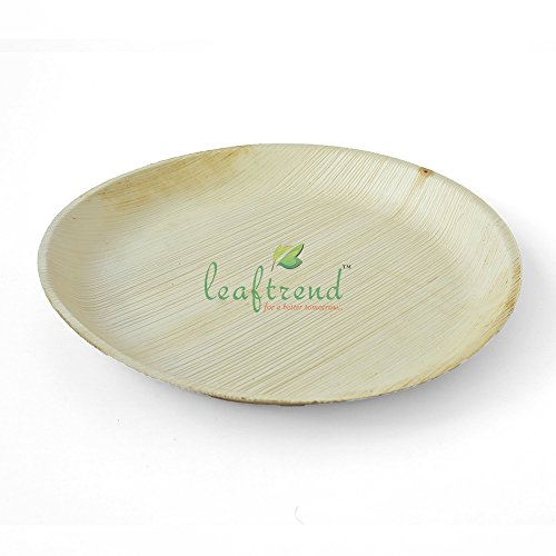 Leaftrend – Ecofriendly disposable palm leaf plateswedding and party plates - 12 inch round palm leaf plate -25 PCS
