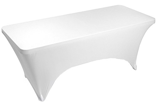 Banquet Tables Pro White 4 Foot 30x48 Rectangular Fitted Stretch Spandex Tablecover