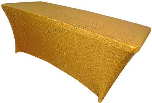Wedding Linens Inc 6 FT Rectangular Sequin Spandex Stretch Fitted Table Cover Tablecloths - Gold