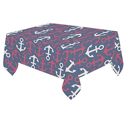 ADE Fashion Custom Table Cover Seamless Nautical Cheveron Anchors Cotton Linen Tablecloth 60x 84 Home Decor for Party Table