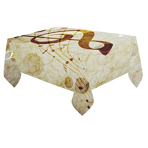 ADEDIY Custom Table Cover Retro Style Music Note Cotton Linen Tablecloth 60x 84 Event Party Decor