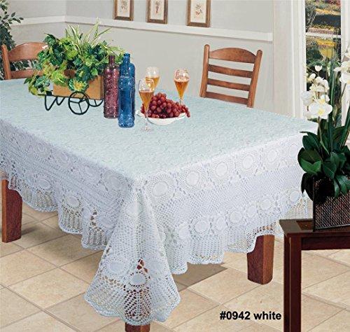 Creative Linens Handmade Crochet Lace Tablecloth 60x120 Rectangular White 100 Cotton