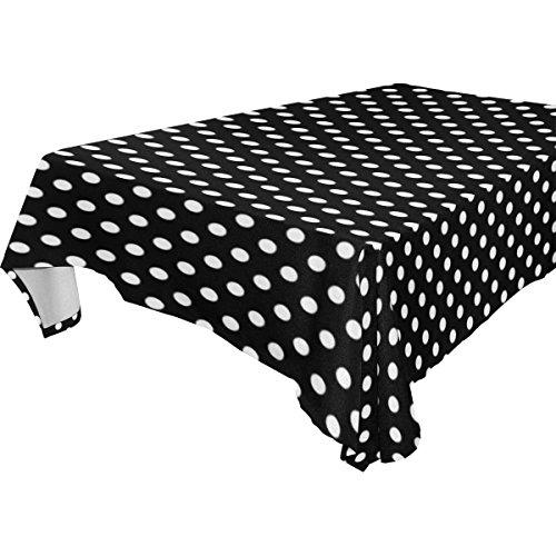 Polka Dot Rectangular 60x120 Tablecloth Black and White By Florida Tablecloth