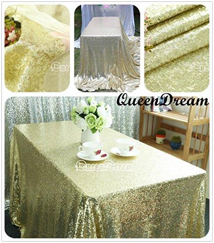 QueenDream big sequin tablecloth light gold 60x120sequin tablecloths sequined tablecloth sequin fabric for Wedding Dessert Table